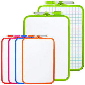 A4 Mini Kids Whiteboard Plastic Frame Double Sided (18.5cm x 27.5cm) With Pen