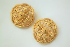Vintage signed Ben-Amun clip earrings Etruscan/archaeological revival worked gld