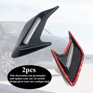 2xCarbon Fiber Color Style Car Hood Air Flow Fender Side Vent Decoration Sticker
