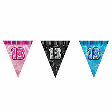 12ft Foil Glitz Pink 13th Birthday Bunting Flags