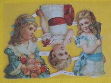 1 Poesiebilder Oblaten Glanzbilder 095 Mädchen fächer rosen kinder