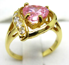 Women's pretty glamorous jewelry 10KT yellow gold filled pink ruby ring SZ:8