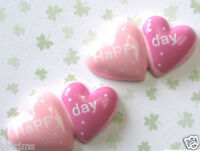 "10 pcs x 1/"" Resin Valentines Heart Flatback Embellishments with Happy Day SB280P"