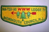 OA NA-TSI-HI LODGE 71 MONMOUTH COUNCIL SCOUT PATCH THREE PINES SERVICE FLAP