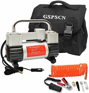 GSPSCN Silver Tire Inflator Heavy Duty Double Cylinders with Portable Bag, Metal