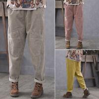 Mode Femme Jambes larges Pantalon Casuel en vrac Poches latérales Loisie Loose