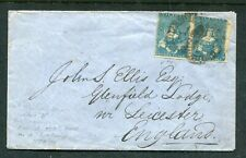 VICTORIA 1858 3D BLUE IMPERF PAIR HALF LENGTH COVER TO ENGLAND. VERY FINE