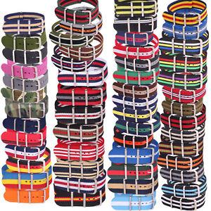 Stripes Military 22mm Nylon Watchband Fiber Woven Watch Strap Wristwatches Band