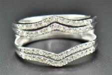 Gold Finish 1.50 Ct Round Cut Diamond Enhancer Wedding Guard Wrap Ring 14K White