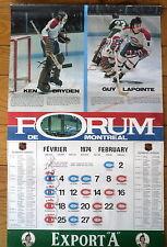 1973-74 Montreal Forum Calendar, Canadiens Ken Dryden and Guy Lapointe...