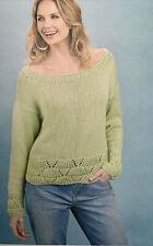 Ladies Chunky Cotton Sweater Jumper Knitting Pattern Sizes 8 - 22. YE666