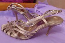 "Faith UK5 EU38 US7 taupe satin strappy 3.5"" heel sandals - very little wear"
