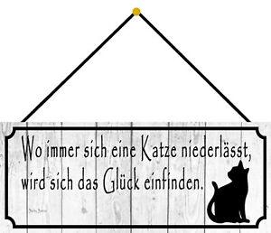 Blechschild Katze Glück Tier Metallschild 27x10 cm Wanddeko tin sign  mit Kordel