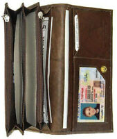 Brown Genuine Leather Credit Card Checkbook Organizer Lady's Clutch Wallet New