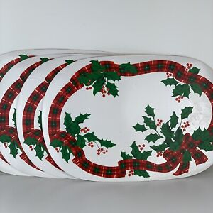 4 Vintage Vinyl Christmas Placemats Holly And Berries Plaid Ribbon Oval Shape