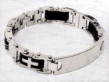 Pulsera de cadena para Hombre moda cruz acero inoxidable Regalo de lujo Plata