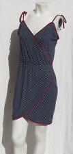 STUSSY Navy Blue Burgandy Polka Dot Stretch Cotton Knit Sundress Dress size M