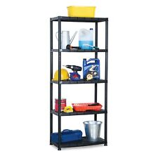 Ram Quality Products 15 inch 5 Tier Plastic Shelves, Black (Open Box) (2 Pack)