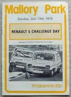 MALLORY PARK 13 Jul 1975 RENAULT 5 CHALLENGE DAY Official Programme