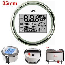 Marine Car Digital GPS Speedometer LCD Gauge 0-999Knots 9-32V 85mm Chrome White
