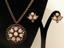 Necklace Earring Set copper tone with pink/white and copper speckle cabochons