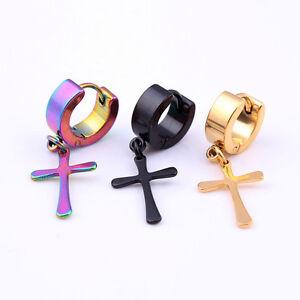 2pcs Gold Tone Stainless Steel Hoop Cross Huggie Hinged Men Womens Stud Earrings