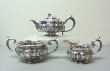 Gorgeous 3-Pc. Heavy English Sterling Silver Tea Set by William Bateman, c.1832
