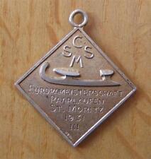 Silver 3rd Place Winner's Medal European Skating Championships 1931 St Moritz
