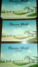 Five (5) Vintage Postcards. CLAUSEN MOTEL  NORFOLK, NEBRASKA Unmarked