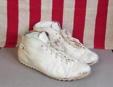 Vintage White Leather Mens Cricket Game Match Shoes Size 8.5 Boots Mid Nice!