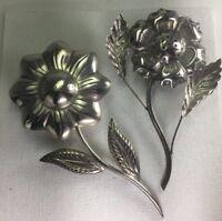 Vintage TANE Sterling Silver Detailed Flowers Salt & Pepper Shakers Set 65g