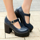 Hot Womens High Block Heel Platform Mary Janes Pumps Ankle T-Strap Punk Shoes 10