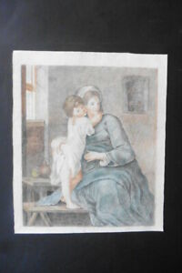 FRENCH SCHOOL 18thC - THE MADONNA AND CHILD IN INTERIOR - CHARCOAL-COLORED CHALK