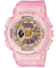 New Casio Baby-G BA110SC-4A Analog-Digital Pink Semi-Transparent Resin Watch