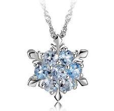 Girl Silvering Crystal Blue Frozen Princess Elsa Snowflake Pendant Necklace New