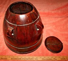 Old Primitive Japanese Wood Rice Box Container Basket & Lid
