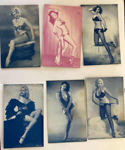 Lot of 6 Arcade Cards; Pin-Up Girls in Lingerie, Swimsuits; Plain Backs, Named