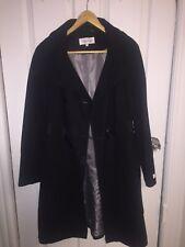 CALVIN KLEIN Women's Black Wool Blend Long Lined Belted Coat Size 4