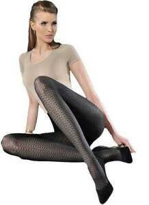 Women's 50 Denier Patterned Black Tights, 3D Microfibre Opaque Pantyhose, Gabrie