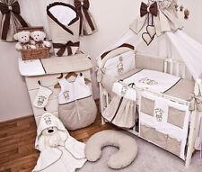 Babybett Tany mit 10-tlg Komplettset Bettwäsche Matratze Nestchen Teddybär/braun
