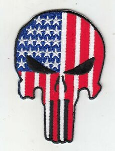 """American Flag Punisher Skull Embroidered Patches 3.5""""x2.3"""" iron-on"""