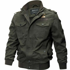 New Men's Military Style Slim Fit Zip Jacket Force jacket Military Coat green 10