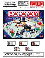 Paper Copy: STERN Monopoly Pinball Game FULL Service & Repair Operations Manual