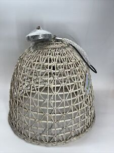 Pottery Barn Open Weave Rattan Dome Pendant, Beige, Free Shipping