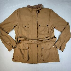 Gap Womens Military Utility Zip/button jacket Large Brown w/ Pockets