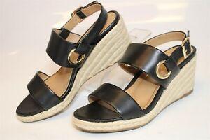 Vionic Vero Womens 7 38 M Med Black Leather Espadrilles Heels Wedges Shoes
