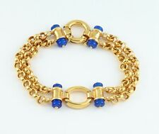 Vintage 18Ct Gold And Blue Agate Bracelet With Large Bolt Ring Clasp