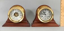 Authentic Chelsea Ships Bells Gilt Brass Clock & Barometer & Mahogany Stands