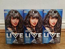 3x Schwarzkopf LIVE Midnight Grey U74 Permanent Hair Dye New