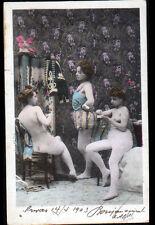 ARTISTE , NU de THEATRE / FEMME à l'HABILLAGE avec PARAVENT en 1903